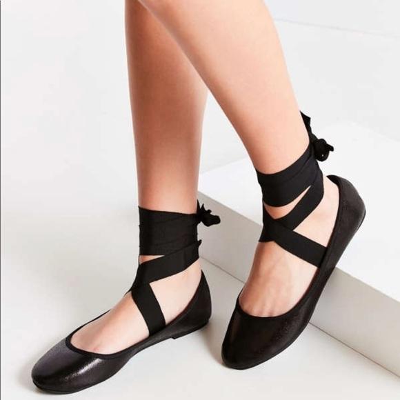 Asos Black Lace Up Ballerina Flats Size